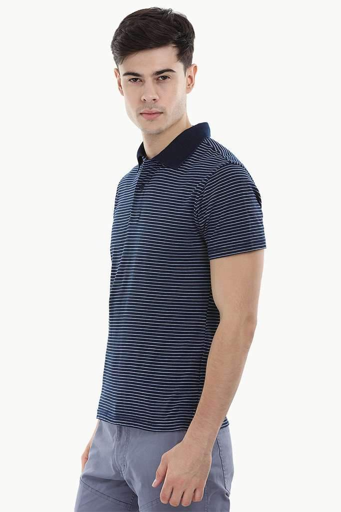 Indigo Nautical Striped Polo T-Shirt