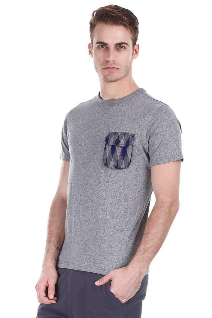 Jaspe Solid Tee With Contrast Ikat Pocket