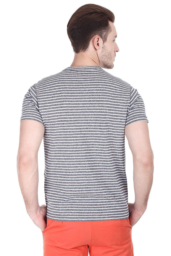 Jaspe Stripe Knit Round Neck Tee
