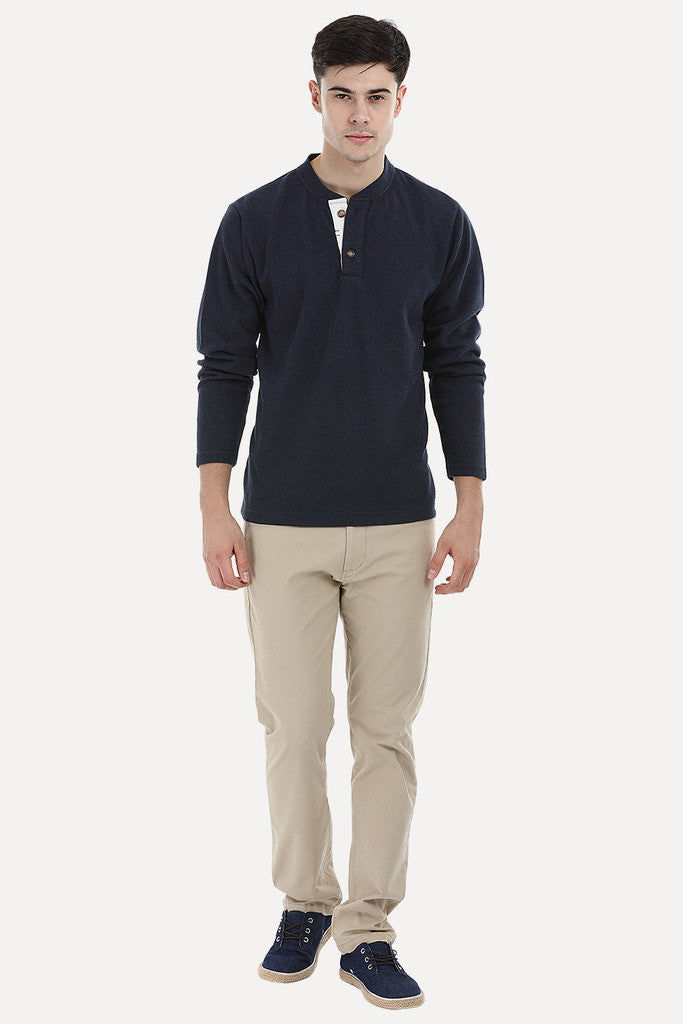 Knit Sports Henley Sweatshirt