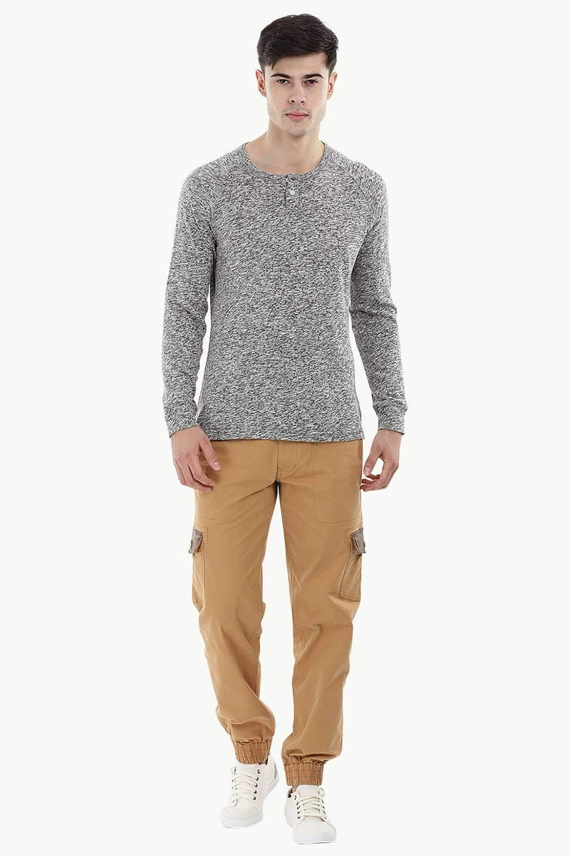 Knitted Henley Casual Sweatshirt