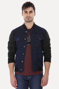 Knitted Sleeves Indigo Denim Jacket