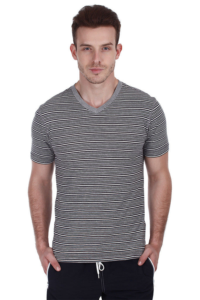 Long Sleeve Striped Melange Tee