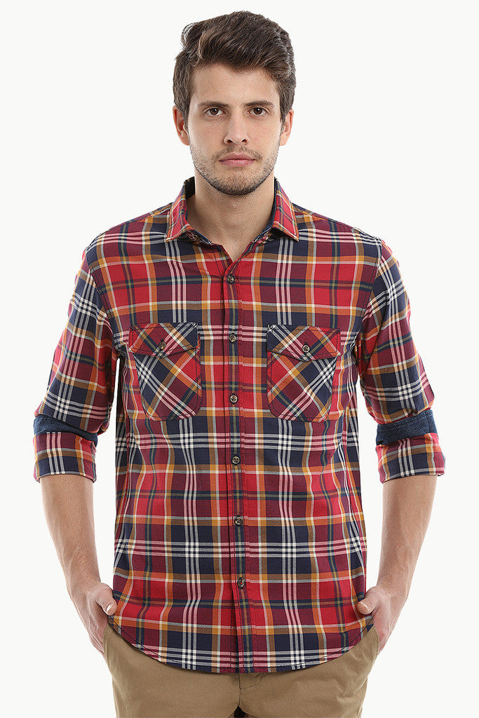 Madras Plaid Yarn Dye Spread Collar Shirt