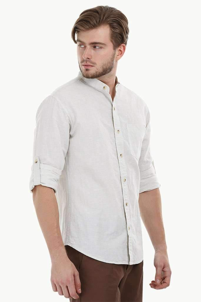 Mandarin Collar Chambray Shirt