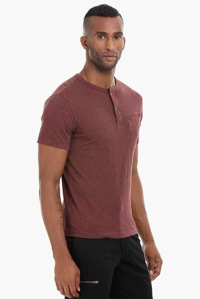 Short Sleeve Henley Cotton T-Shirt