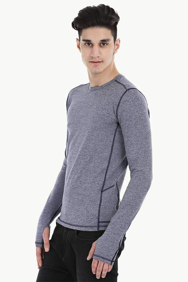 Melange Performance Wear Stretch Tee With Thumb Hole