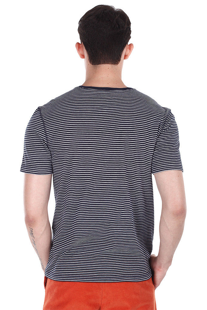 Melange Striped V Neck T-Shirt