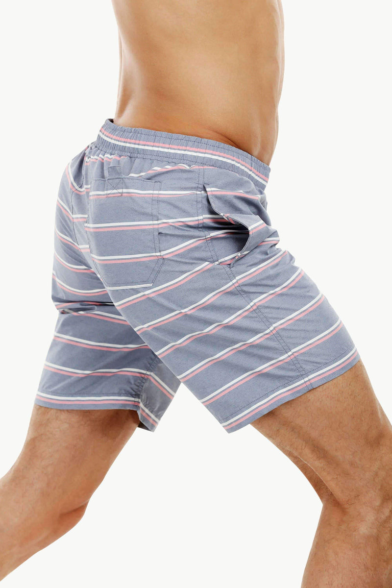 Mens Dull Blue Stripe Quickdry Swimshorts