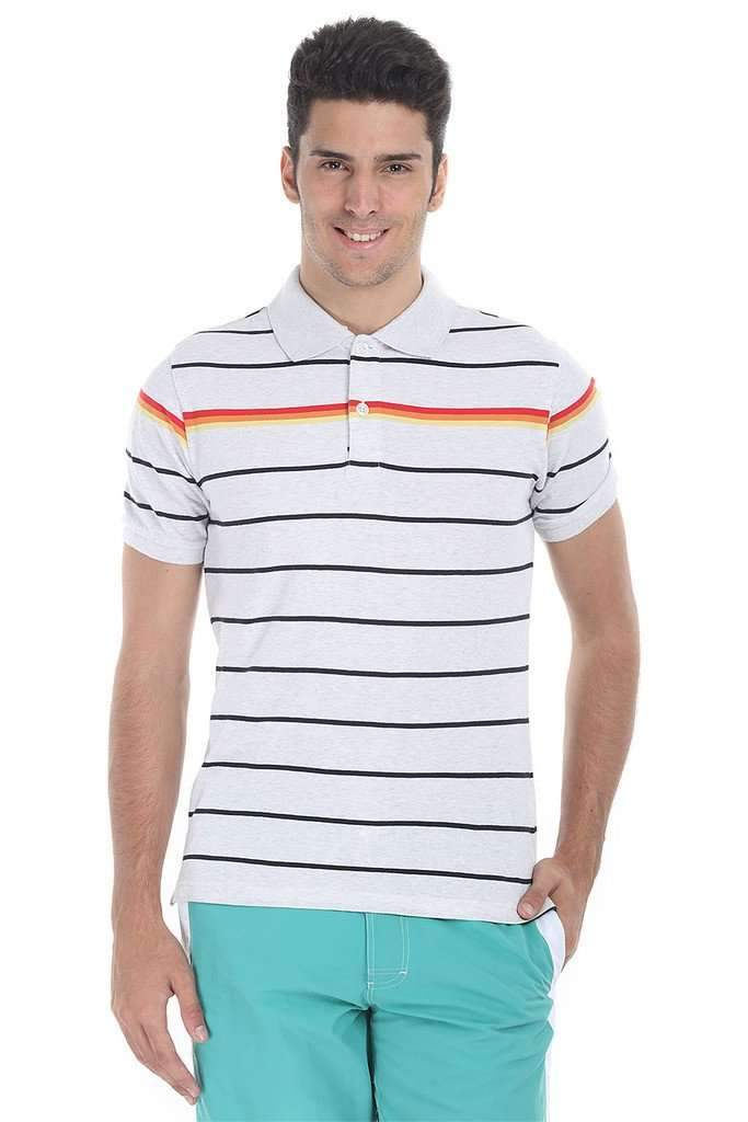 Multi Flat Stripe Heather Polo