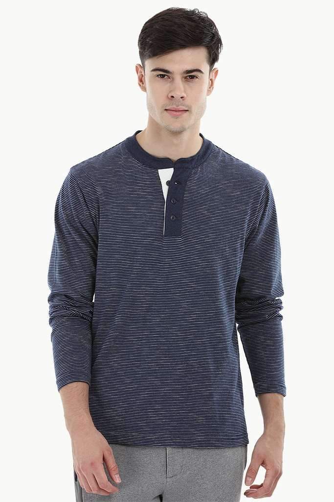 Nautical Striped Henley Sweatshirt