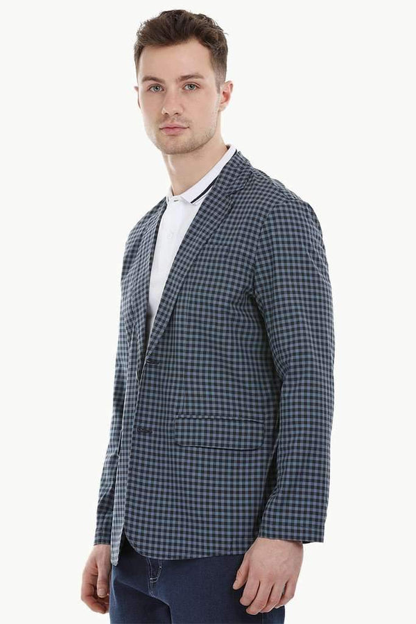 Navy Gingham Check Casual Blazer