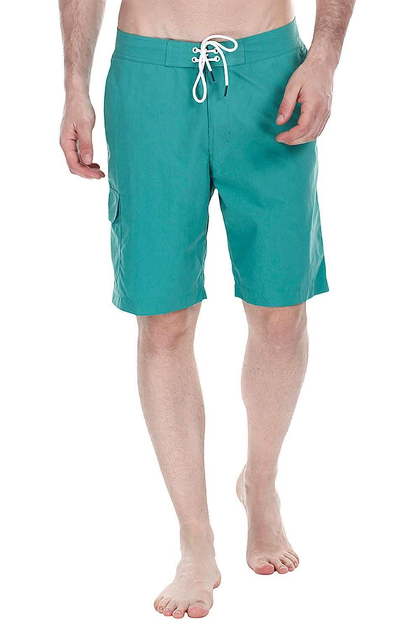 Solid Quick Dry Board Shorts With Side Pockets
