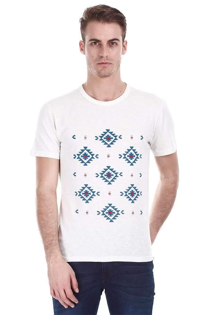 Off White Aztec Print Crew Neck Tee