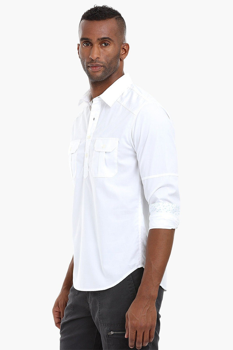 Panelled Sleeve Popover Cotton Shirt