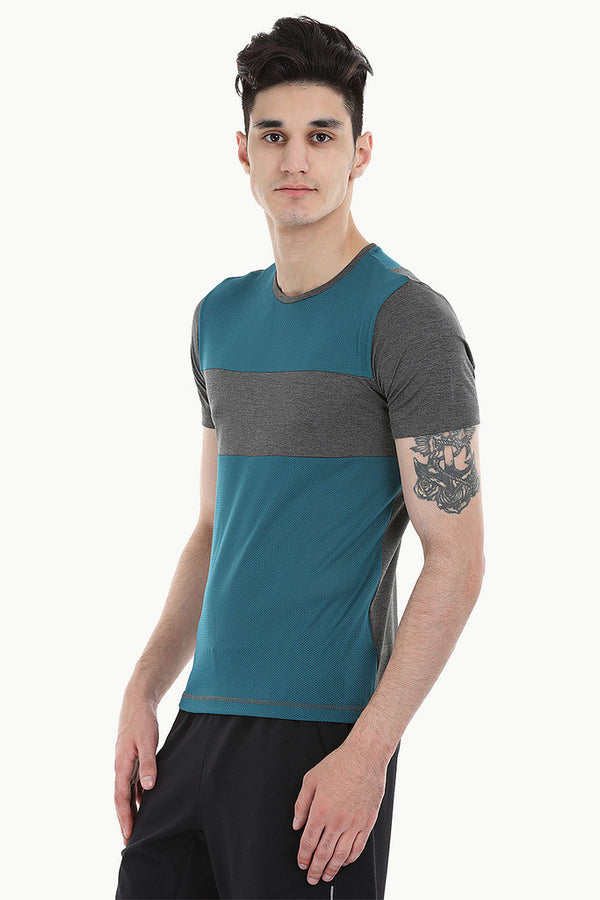 Performance Wear Color Block And Melange Tee