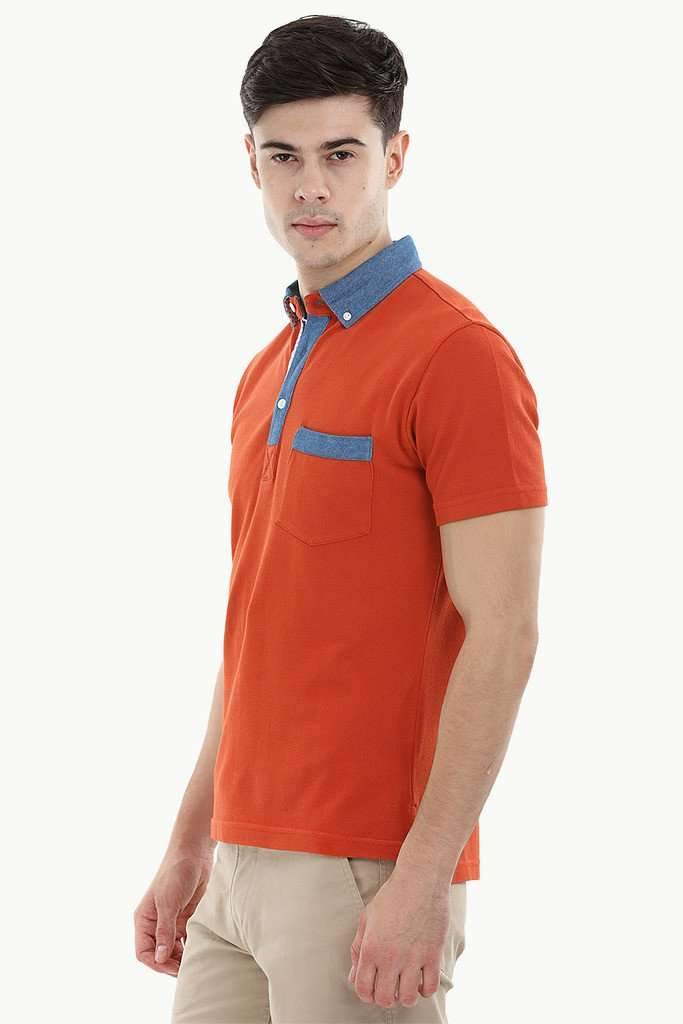 Pique Polo T-Shirt with Contrast Placket