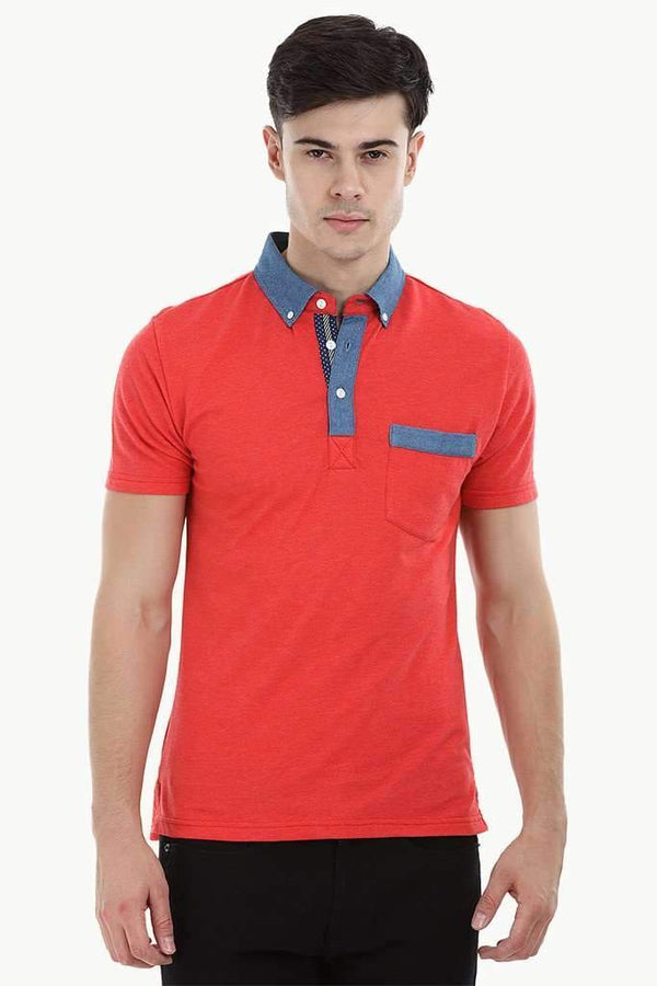 Polo T-Shirt with Contrast Placket