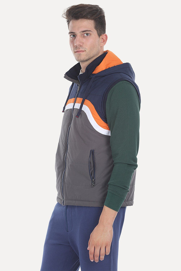 Polyester Padded Sleevless Hooded Cire Jacket