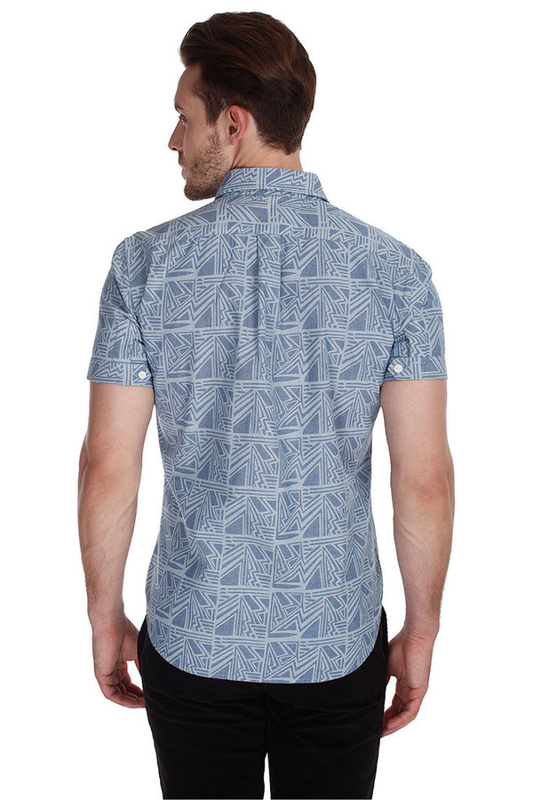Printed Chambray Enzyme Wash Shirt