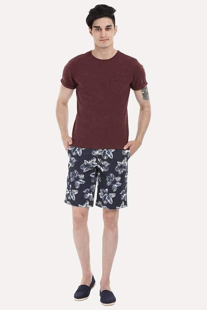 Printed Cotton Twill Enzyme Washed Shorts