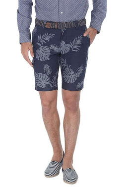 Printed Denim Slim Fit Shorts