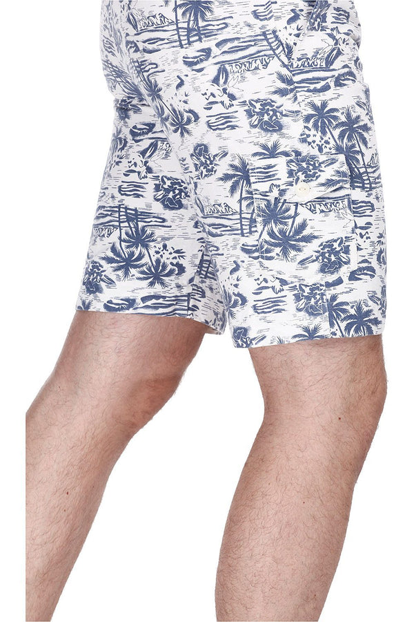 Printed Enzyme Washed Hawaiian Shorts