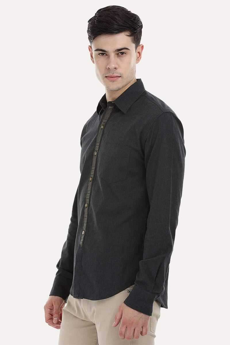 Designed Placket Oxford Shirt