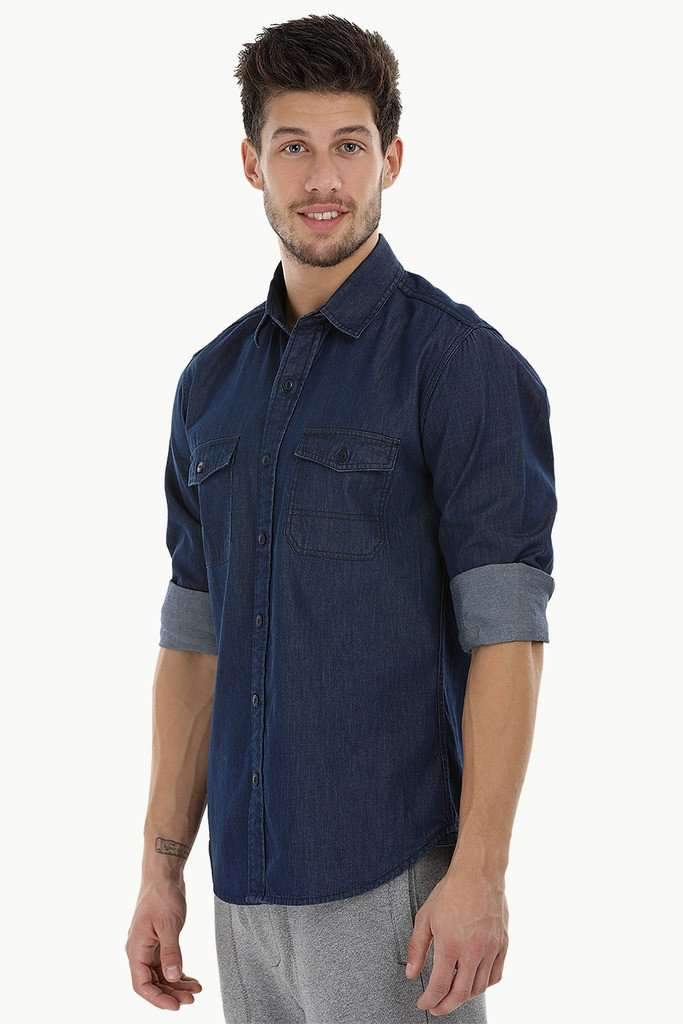 Quilted Patch Denim Shirt