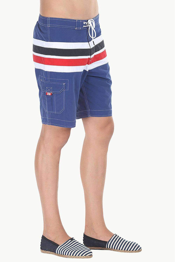 Multiple Stripe Nylon Quick-Dry Board Shorts