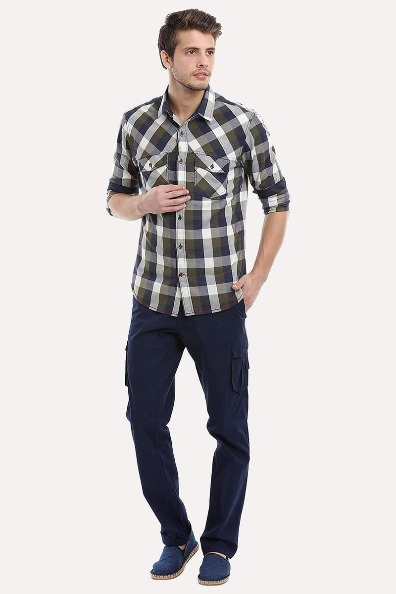 Royal Blue Relaxed Fit Washed Cargo