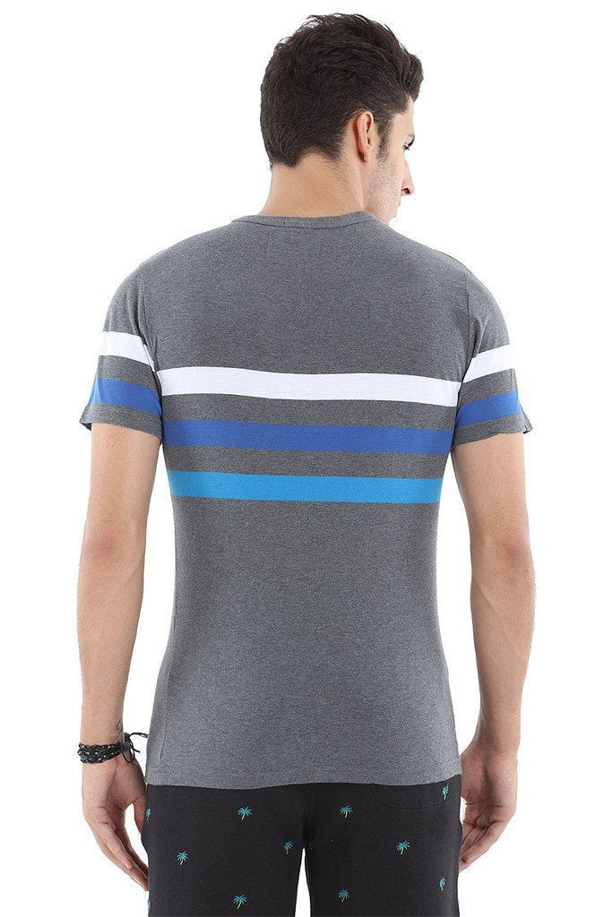 Round Neck Stripe Soft Knit T Shirt