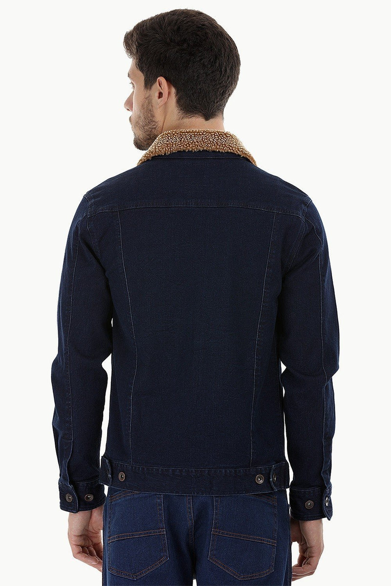 Sherpa Collar Indigo Denim Jacket