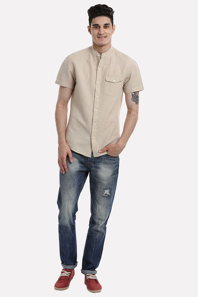 Short Sleeve Band-Collar Linen/Cotton Shirt