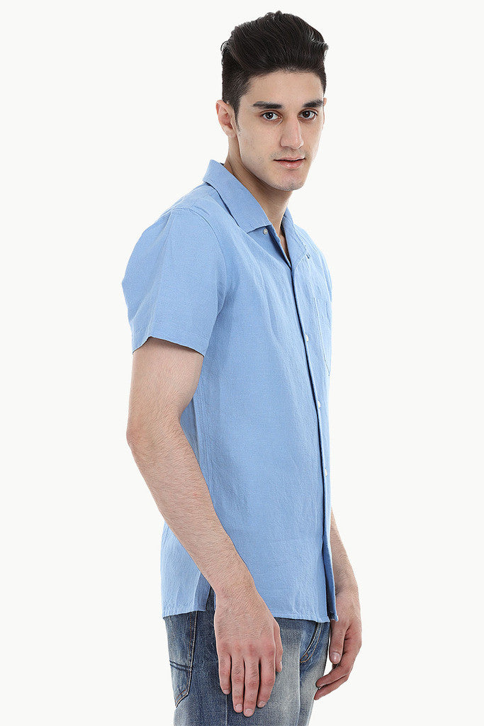 Short-Sleeve Camp-Collar Linen/Cotton Shirt