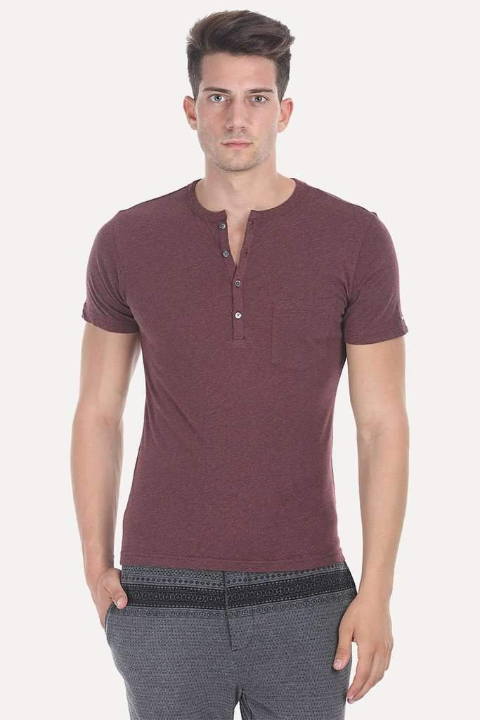 Short Sleeve Solid Henley
