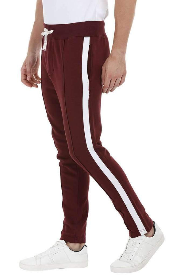 Side Colorblock Maroon Sweatpants