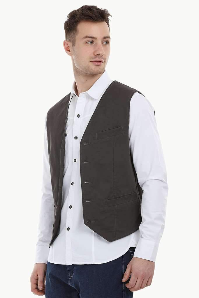 Sleeveless Lapel Slate Grey Jacket