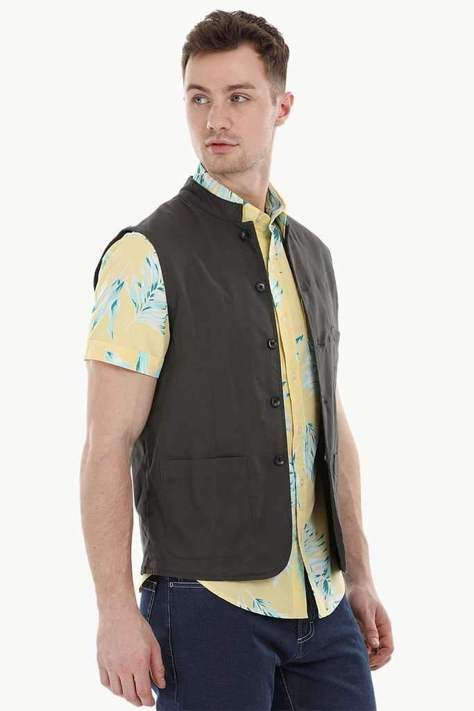 Sleeveless Nehru Slate Grey Jacket