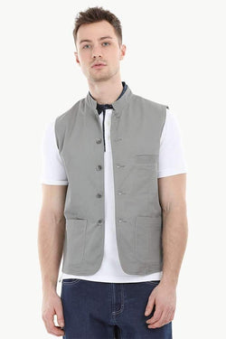 Sleeveless Nehru Stone Grey Jacket