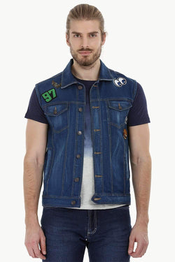 Sleeveless Trucker Indigo Denim Jacket