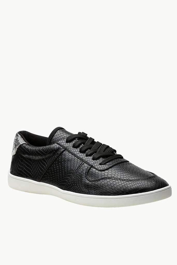 Faux Leather Lace Up Plimsolls