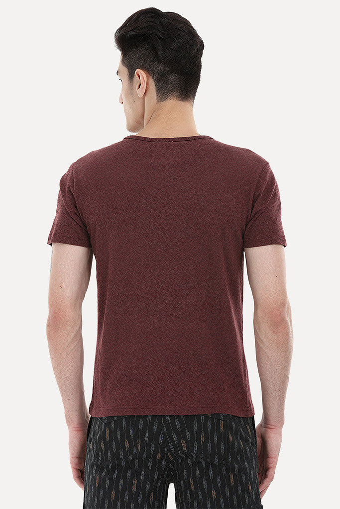Soft Henley With Leather Detailing