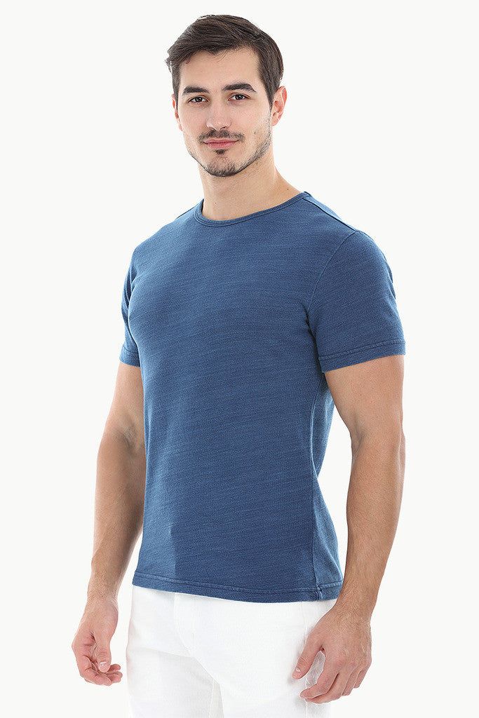 Solid Blue Crew Neck Tee