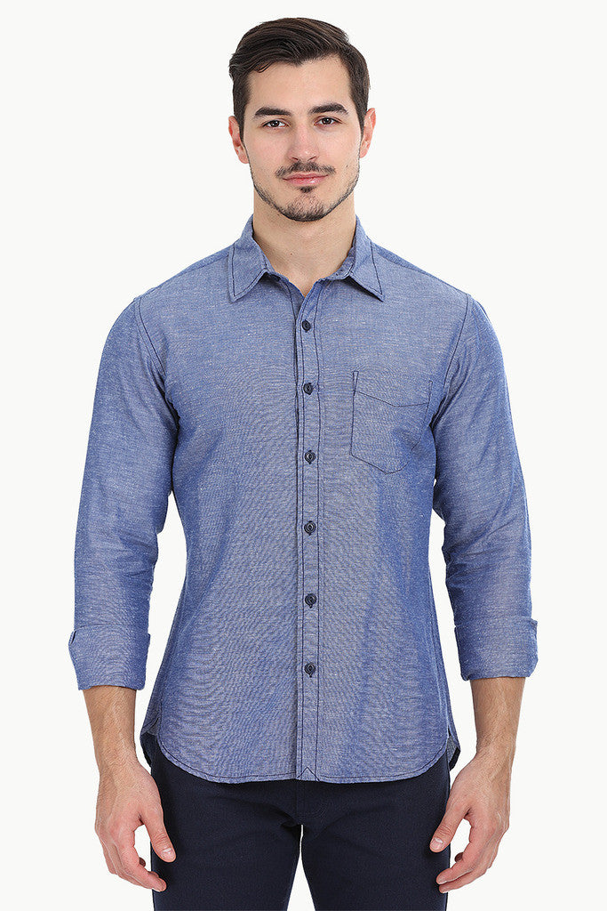 Solid Chambray Linen Full Sleeve Shirt