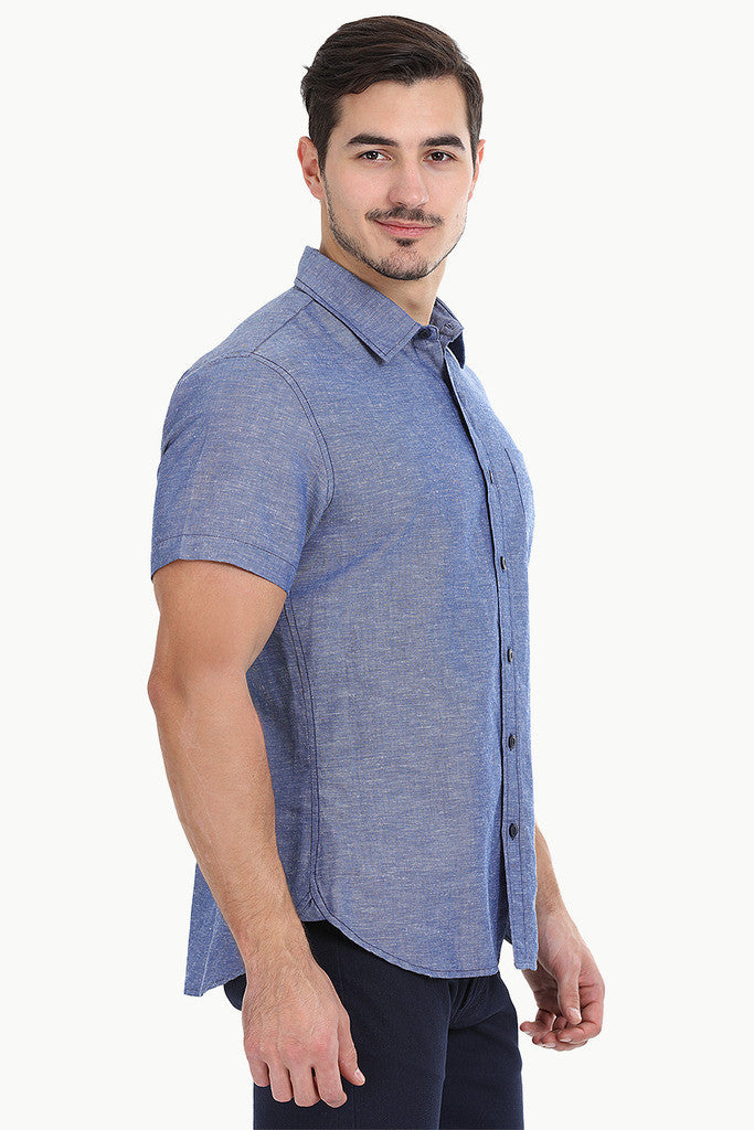 Solid Chambray Linen Short Sleeve Shirt