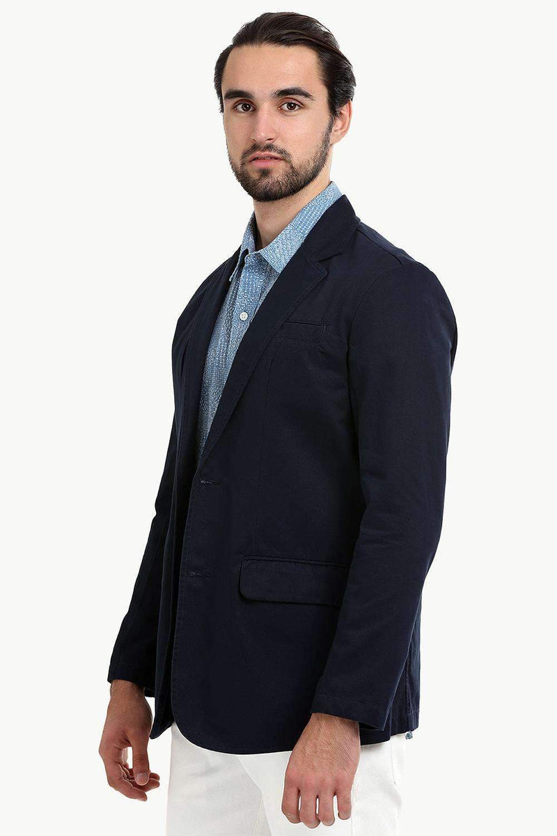 Solid Navy Unlined Casual Blazer