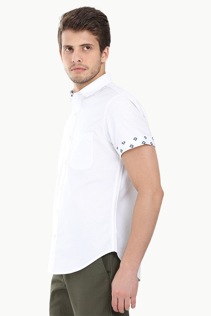 Solid Oxford Woven Short Sleeve With Ikat Detail