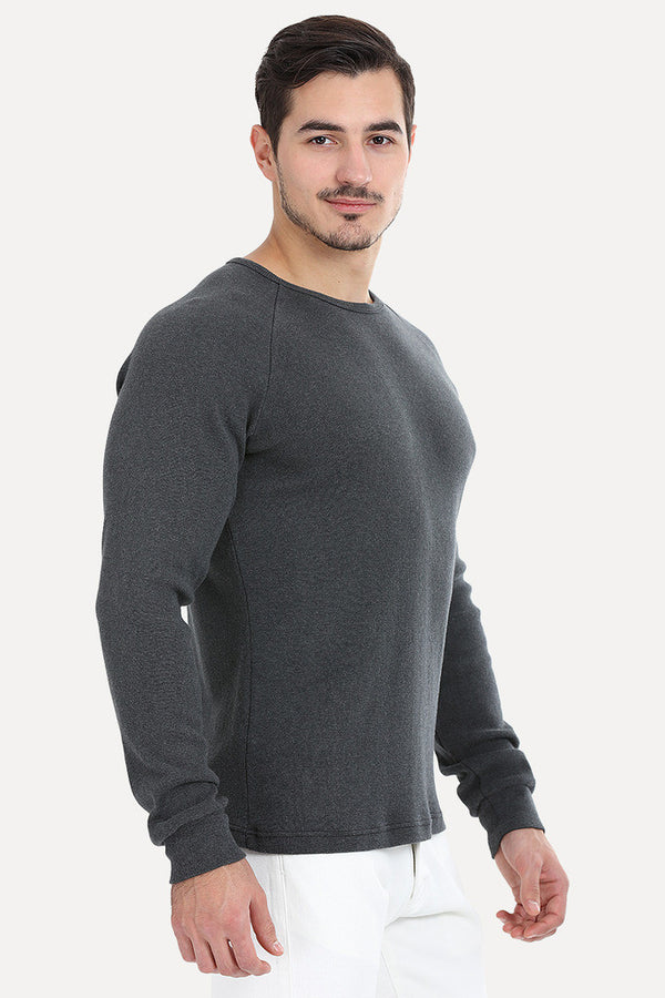 Solid Ribbed Heather Crew