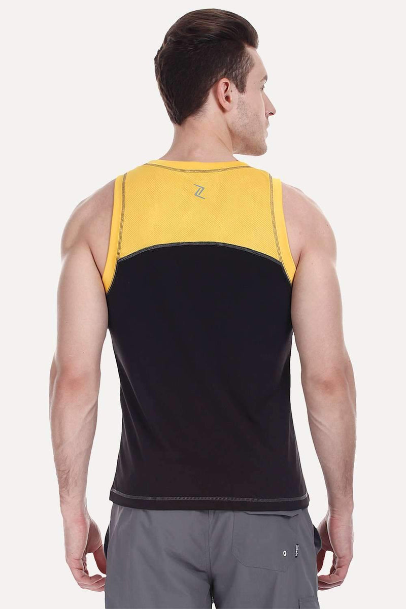 Performance Wear With Contrast Armhole And Back Yoke